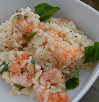 Risotto crémeux aux crevettes, basilic et parmesan