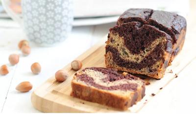 Banana bread marbré chocolat et noisette (sans beurre)