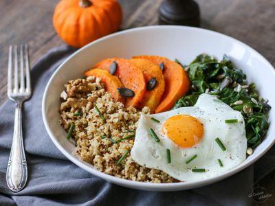 Assiettes complète quinoa, blettes, courge, œufs