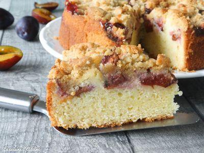 Gâteau aux quetsches, crumble à la cannelle
