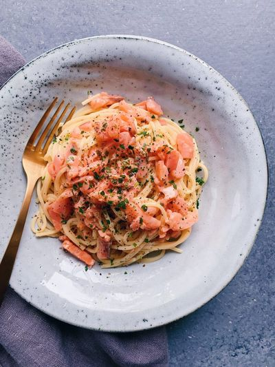 Spaghetti carbonara au saumon