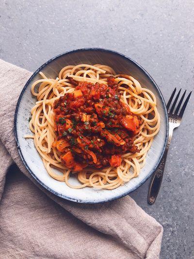 Spaghetti à la bolonaise végétale