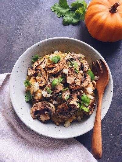 Risotto au potiron, pecorino et champignons