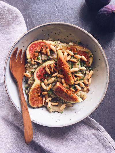 Risotto aux champignons, figues et chèvre
