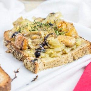 Bruschettas aux champignons et caviar d'aubergines