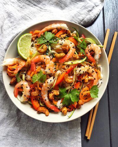 Nouilles et crevettes épicées