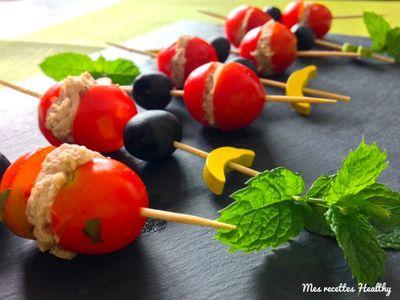 Brochette tomate olive au thon