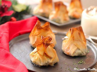 Aumônière de crevette sur sa fondue de poireau