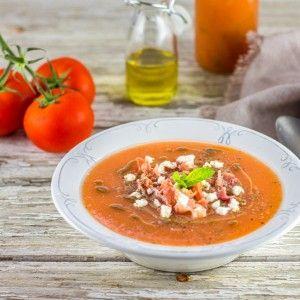 Gaspacho melon, menthe et abricots