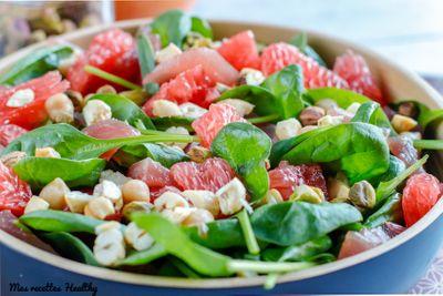 Salade détox au pamplemousse et thon cru