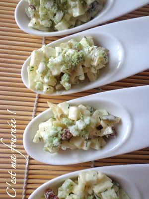 Mises en bouche céleri rave, granny smith, raisins, cornichons et riz soufflé au wasabi