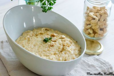 Porridge de céleri et cajou au parmesan