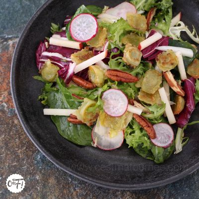Salade aux ravioles poêlées