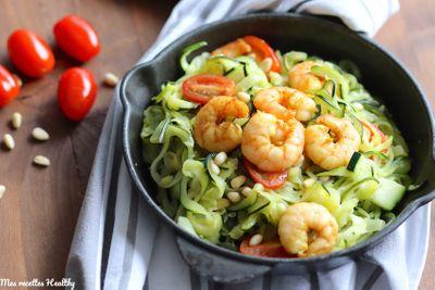 Crevette épicée et ses spaghettis de courgette
