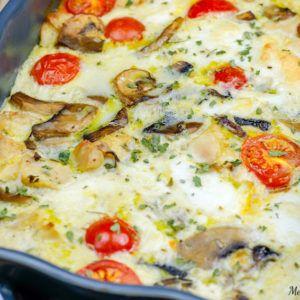 Quiche sans pâte au poulet et mozzarella facile