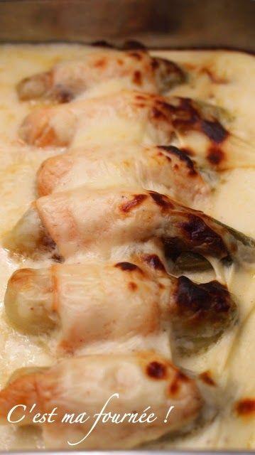 Gratin d'endives au saumon fumé