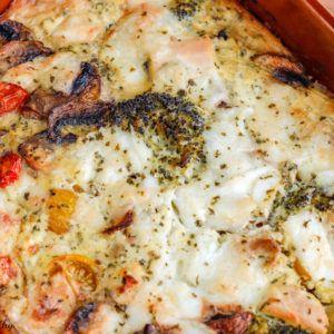 Gratin de poulet brocolis et fromage au pesto