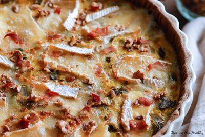 Tarte au poireau camembert et noix au bacon