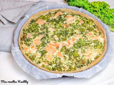 Quiche au kale et saumon à la ricotta