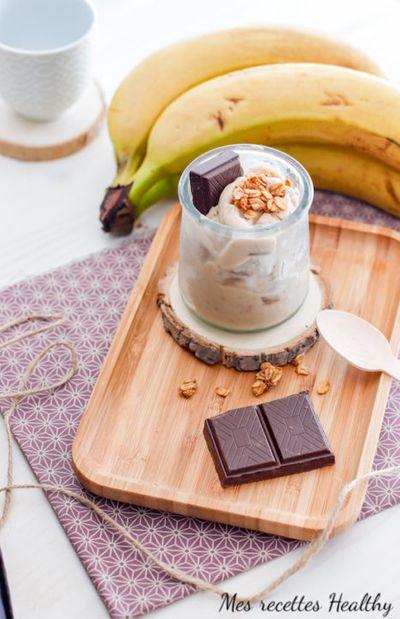 Glace à la banane et chocolat maison (sans sucre ajouté)