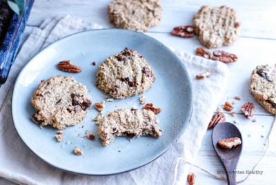 Biscuit aux céréales pécan et chocolat (sans beurre )