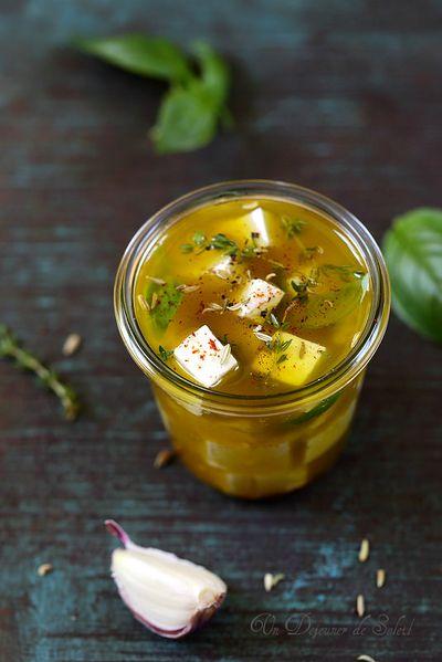 Feta marinée à l'huile d'olive