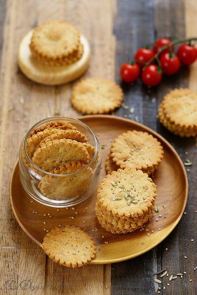 Crackers au sésame, fenouil et huile d'olive