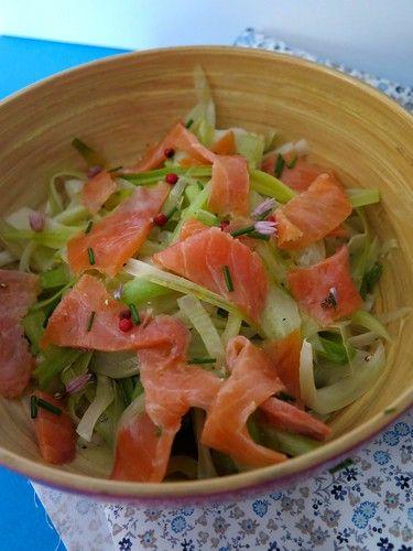 Salade de saumon fumé, mariné citron vert et ciboulette