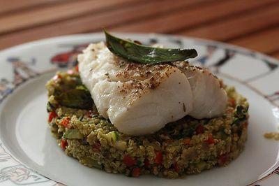 Dos de cabillaud, quinoa aux légumes