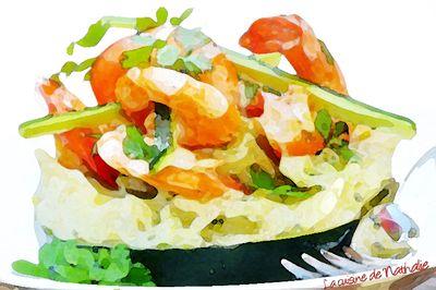 Ecrasé de pommes de terre, courgettes et crevettes