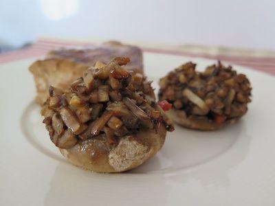 Grenadins de veau, champignons farcis au parmesan