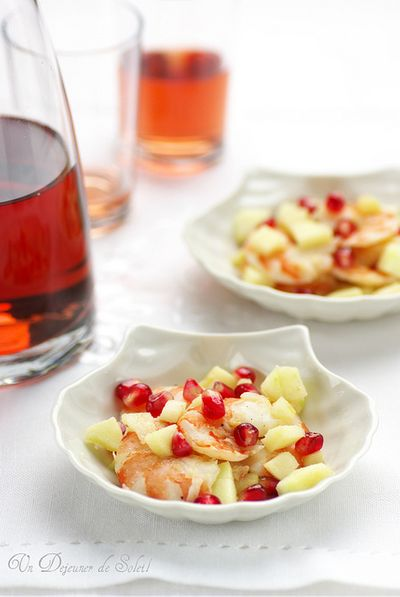 Crevettes pomme et grenade (cuisson sous vide)