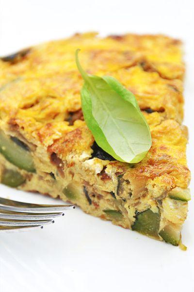 Omelette aux courgettes et basilic