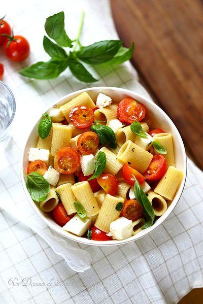 Salade de pâtes tomates mozzarella basilic