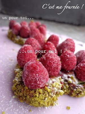 Petits coeurs pistache/framboises (pour les nuls)