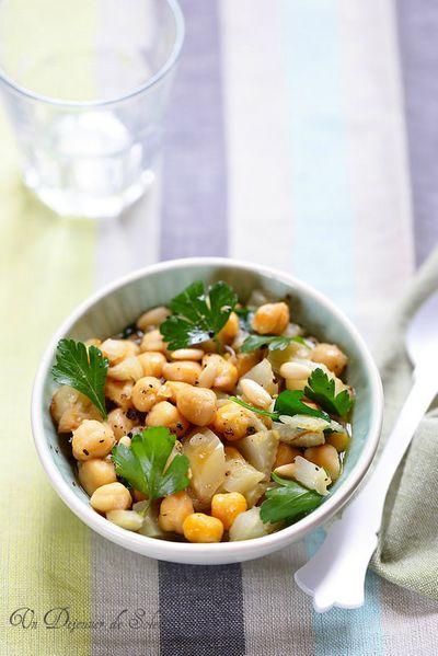 Salade de pois chiches et fenouil rôtis