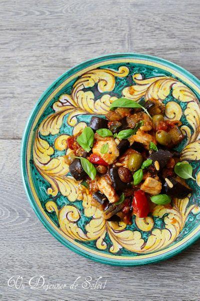 Salade de poulet sauté et caponata sicilienne