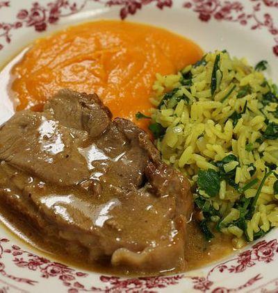 Rôti de dinde orange et lait de coco, riz curry et purée de carottes citronnelle
