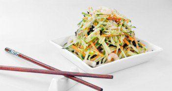 Salade de choux chinois, crevettes et avocat