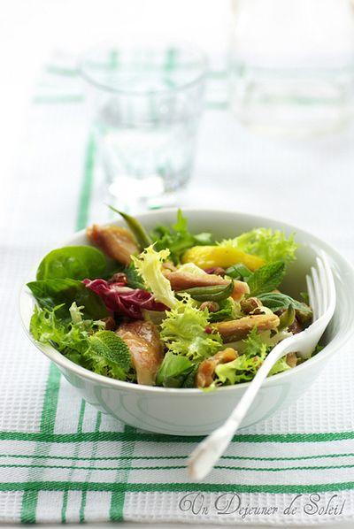 Salade de poulet rôti aux haricots verts, menthe et pistaches  (avec des restes de poulet rôti)
