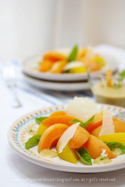 Salade d'abricots, sauce au prunes et basilic, copeaux de grana de bufflonne