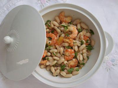 Salade de cannellini, crevettes et oranges sanguine