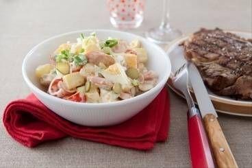 Entrecôte grillée au barbecue, salade piémontaise
