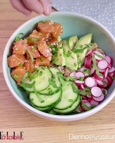 Poke bowl saumon avocat