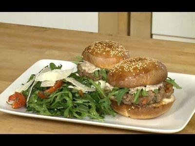 Burger milanais, salade de roquette