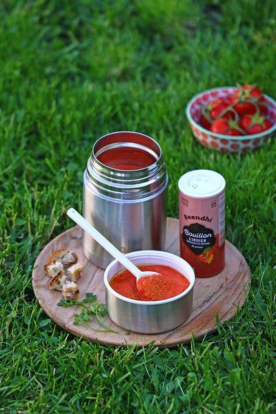 Soupe froide de tomate et poivron au Bouillon L'Indien