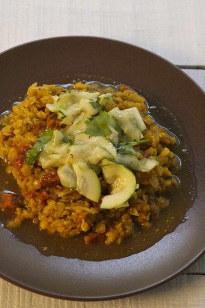 Curry de Lentilles Pondichéry et Salade de Courgettes