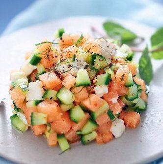 Tartare de melon, feta, concombre, menthe