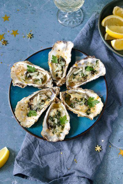 Huîtres gratinées au parmesan et persil