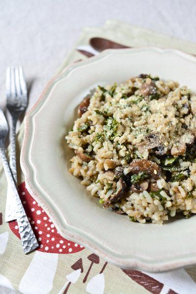 Risotto express, kale et champignons (vegan)